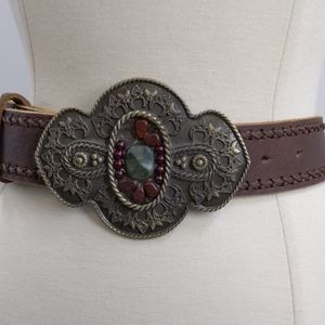 CAbi leather belt w embossed metal buckle/stones-L